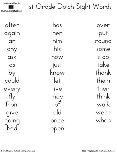 Printable Dolch Word Lists   Spelling words list, 2nd