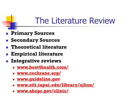 PPT - The Literature Review PowerPoint Presentation, free
