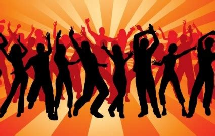 Silhouette Peoples Dancing Vector Background - Ai, Svg